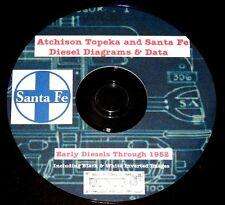 Atchison Topeka & Santa Fe Railroad 1952 Diesel Diagrams & Data PDF Pages  DVD