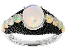 Ethiopian Opal & Black Spinel Sterling Silver Ring Size 6