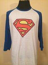 Superman Logo 2XL 3/4 Raglan Sleeve Printed Poly/Cotton Tee