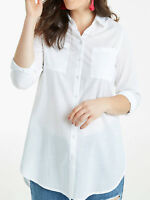 Womens plus size 18 to 30  Top White Cotton long sleeve shirt extra long length