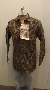 Vtg NEW Mossy Oak Original Tree Stand Camo Shirt sz L USA Made Cotton Chamois