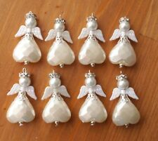 10x Cream White Wings Angel Charms Pendants Heart Beads Xmas Tree Decoration WH