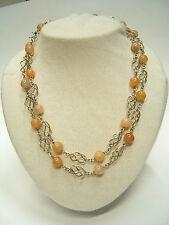 Collana in AGATA naturale arancione con chiusura in ARGENTO 925 - pietra dura -