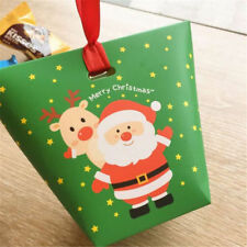 2pcs Christmas Paper Gift Bag Candy Carrier Xmas Present Boxes Without Ribbon