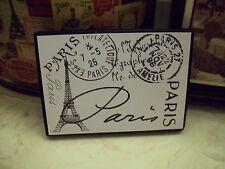Paris decor Paris Eiffel Tower postage stamps sign block French black and white