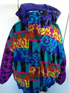 Obermeyer Womens Ski Jacket  size 12 reversible attached hood multi color purple