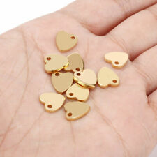 Wholesale 50/100pcs Gold Stainless Steel Heart Charms for DIY Jewelry Findings