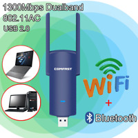 USB 2.0 1200Mbps Long Range AC1200 Dual Band 5GHz Wireless WiFi Adapter Antennas