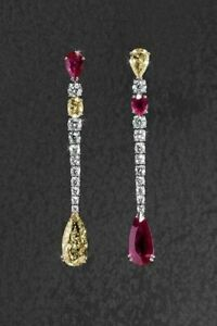 Beautiful Yellow Gold Citrine With Velvet Red Ruby & Vivid CZ Waterdrops Earring