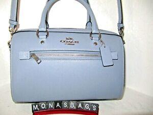 Coach New 79946 Rowan Satchel Twilight Blue Crossgrain Leather Handbag MSRP $328
