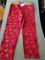 Girl's Christmas Leggings Santa, Presents, Candy Cane, Red and Gold, New