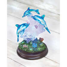 LIGHT-UP DOLPHIN SCULPTURE Home Decorative Figurine Accent Marine Animal Statues
