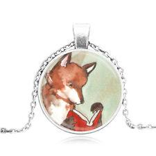 Vintage Cabochon Tibetan Silver/Bronze Glass Fox Charm Pendant Necklaces #94