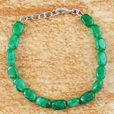 "85.00 Cts Earth Mined 8"" Inches Long Green Emerald Untreated Beads Bracelet"