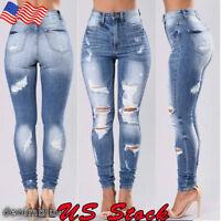 Women Denim Skinny Ripped Pants High Waist Stretch Jeans Long Pencil Trousers