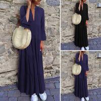 Mode Femme Manche Longue  à volants Col V Couture Couleur Unie Loisir Maxi Plus