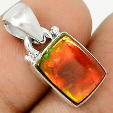 Genuine Canadian Ammolite  925 Sterling Silver Pendant Jewelry SP209306