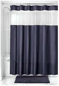 NEW Navy Fabric View Shower Curtain or Liner Clear Top Stripe Allowing in Light