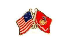 USA American Flag Marines Marine Flag Friendship Crossed Flags Lapel Hat Pin
