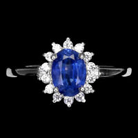 Unheated Oval Kyanite 7x5mm Cz 14K White Gold Plate 925 Sterling Silver Ring 6