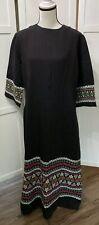 Vtg Pelux Boho Hippie Womens Dress Maxi Black Loosefitting Sz Medium Hand Woven