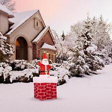 Weihnachtsmann Nikolaus Aufblasbar Weihnachtsdeko LED Beleuchtet 180 cm Kamin
