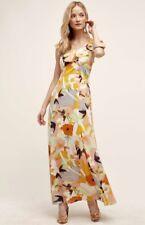 NEW Anthropologie Harlyn ivory orange Floral Sheer Ruffled Yoke Maxi Dress M