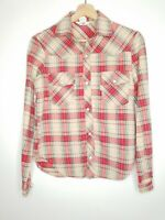 Vintage Levis Womens Shirt Red Plaid Flannel Snap Front Western Style Size Small