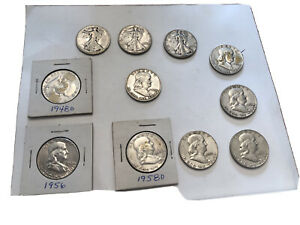 Lot of 11 Silver Half Dollars 3 are Walkers and 8 are lovely Circulated Franklin