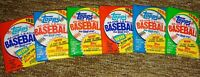 6 Topps UNOPENED Wax Packs 1985 1986 1987 1988 1989 1990 baseball from boxes