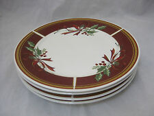 "Gibson Everyday GIB 205 Holly Berries & Ribbon 6-7 3/4"" Salad Plates Christmas"