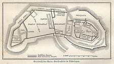 B0965 Ruine in Thuringen - Carta geografica d'epoca - 1890 Vintage map