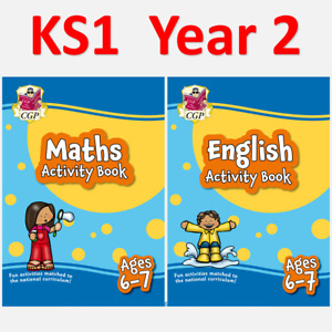 KS1 Year 2 Maths and English Home Learning Activity Books 2 Pack Ages 6-7 CGP