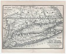 RARE Engraved Map - Long Island Railroad New York 1847 by Williams LI RR Erie