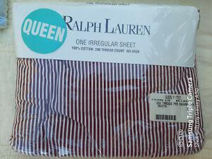 Ralph Lauren College Stripe Red Fitted Sheet Queen Irregular 100%Cotton NIP