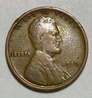 1916 Lincoln - Wheat Ears Reverse 1 Cent Circulated Coin  (2189)