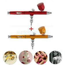 2pcs Multi-Purpose Gravity Dual-Action Airbrush Set Kit Hobby Paint Gold+Red