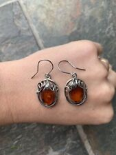 Genuine Baltic Amber Fine Silver Hallmarked Vintage Earrings