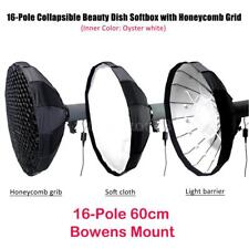 """24"""" Studio Collapsible  Dish Softbox Diffuser Honeycomb Grid Bowens Mount"""