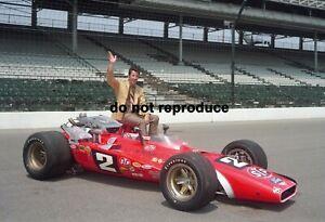 1969 MARIO ANDRETTI INDY 500 WINNER STP BRAWNER HAWK POSE 8x10 PHOTO BEST EVER