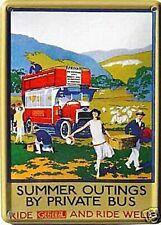 Summer Outings General Bus metal postcard / mini sign  110mm x 80mm  (hi)