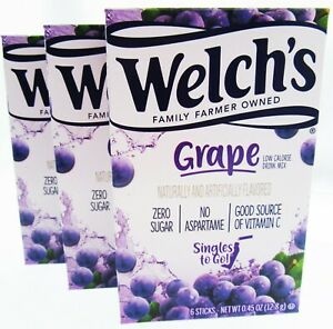 Welch's Grape ~ Packets ~ Low Calorie ~ Grape Drink Mix ~ Lot of 3