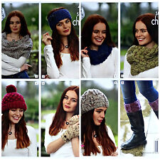 KNITTING PATTERN Ladies Cowl Wrap Hat Boot Toppers Super Chunky King Cole 4617