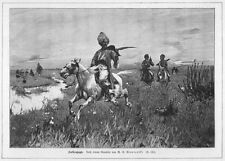 Falken-Jagd, in Polen?, Beizjagd, Michał G Wywiórski Original-Holzstich von 1898