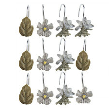 12 PCS fallen leaves Shower Curtain Hooks Bathroom retro flower plant design