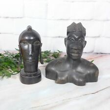 Set of 2 Vintage African Tribal Women Hand Carved Blackwood Wood Sculptures GOOD