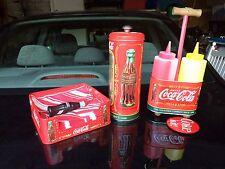 Coca Cola Coke Tin Condiment Caddy/Napkins/Straw antique kit - BEST OFFER