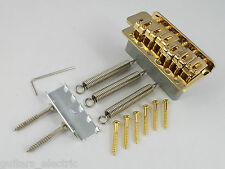 GOLD STRATOCASTER TREMOLO BRIDGE + 6 Gold Screws + Claw & Springs for STRAT