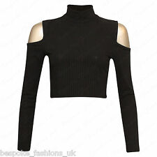 Ladies Womens Long Sleeve Shoulder Cut out Ribbed Polo Turtle Neck Crop Top 8-14 Black Ml 12-14