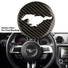 Carbon Fiber Steering Wheel Panel Trim Decor Emblem For Ford Mustang 2015-2017